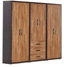 【森可家居】亞瑟8尺集層柚木組合衣櫃 7JF024-A 衣櫥 工業風 木紋質感