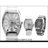 柒彩年代˙范倫鐵諾Valentino 酒桶精密陶瓷不銹鋼錶款【NE525】崁入奧地利水鑽手錶~單支