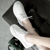 上線底韓國厚底小白鞋休閒鞋女英倫風小皮鞋繫帶單鞋女平底鞋 韓語空間