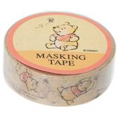 KAMIO 手繪風紙膠帶 手帳貼 裝飾貼 迪士尼 小熊維尼 蜜蜂 褐_KM23153