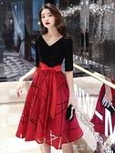 晚禮服宴會晚禮服裙女新款氣質會平時可穿連身裙小個子紅色大碼冬【凱斯盾】