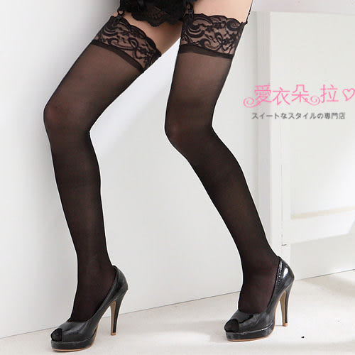 透膚絲襪 日韓國超薄彈性蕾絲大腿襪 黑白色- 愛衣朵拉