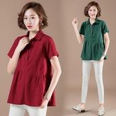 棉麻上衣女T恤2020夏季新款韓版寬鬆大尺碼亞麻短袖提花娃娃衫‧中大尺碼