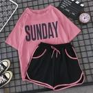 夏天學生少女運動套裝女寬鬆韓版夏季時尚休閒跑步短褲短袖兩件套