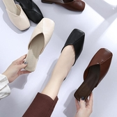 半拖鞋女半拖鞋女夏季方頭平底鞋包頭韓版學生外穿復古百搭奶奶鞋交換禮物