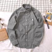 條紋襯衫男長袖修身帥氣休閒學生百搭帥氣情侶襯衣 法布蕾輕時尚