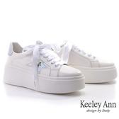 Keeley Ann墊起腳尖愛 炫彩緞帶厚底休閒鞋(白色) -Ann系列