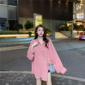 港味中長款長袖寬鬆白襯衫外套秋季韓版設計感小衆雪紡襯衣上衣女