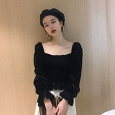 2019秋季新款法式複古方領露鎖骨短款收腰喇叭袖設計感小衆上衣女