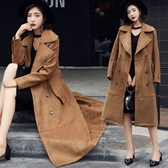 風衣大衣-麂皮絨長版韓版高雅氣質熱銷女外套73oo19【巴黎精品】