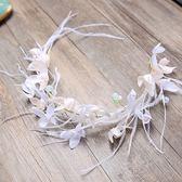 韓式純手工新娘頭飾羽毛發箍唯美小清新四葉草發飾婚紗禮服配飾  巴黎街頭