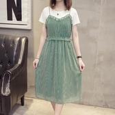 大尺碼洋裝 雪紡連身裙子 兩件套裝 大尺碼女短袖洋裝 降價兩天