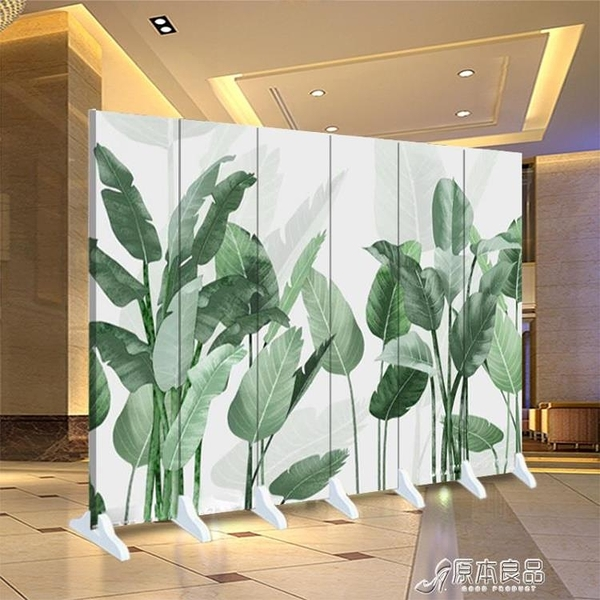 黑色白色背景屏風隔斷墻客廳玄關辦公室簡約現代移動折疊布藝折屏 原本良品