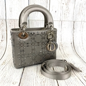 BRAND楓月 Christian Dior 銀色 緞面 閃閃 經典 LADY DIOR MINI 新版 手提包 肩背包