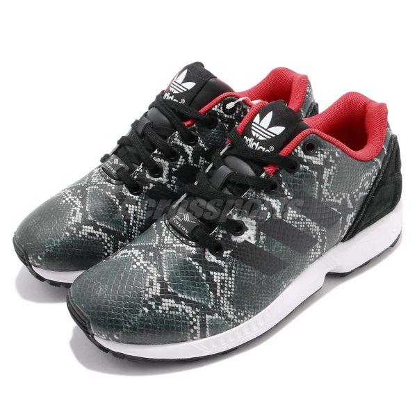 【四折特賣】 adidas ZX Flux W 黑 紅 蛇紋 休閒運動鞋 女鞋 【PUMP306】 B35310