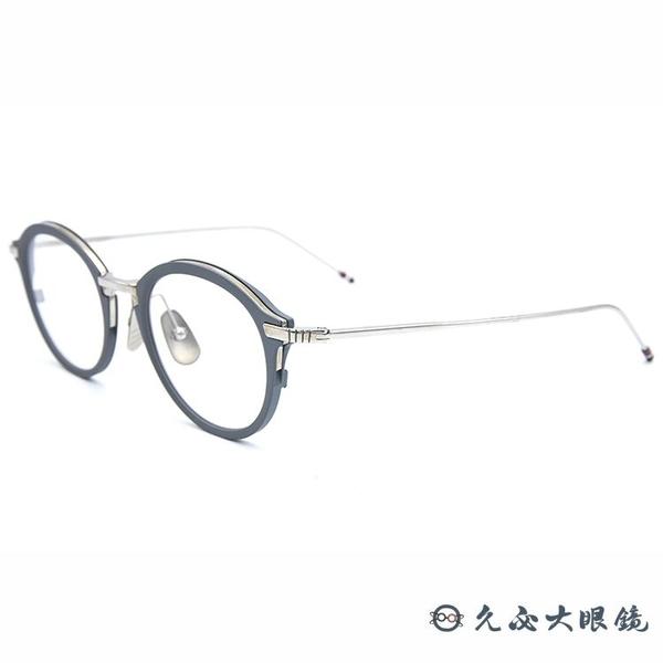 Thom Browne 眼鏡 圓框 近視眼鏡 TB110 霧灰-銀 久必大眼鏡
