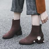 短靴 女2019新款秋冬學生百搭瘦瘦靴粗跟中跟踝靴平底短筒靴子女