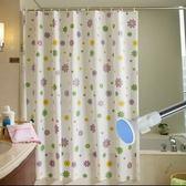 高檔加厚浴簾套裝防霉防水免打孔浴簾布浴室隔斷簾子門簾窗戶掛簾