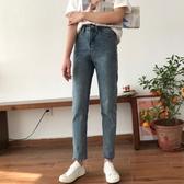 秋季新款女裝高腰百搭直筒牛仔褲女韓版氣質個性毛邊褲腳九分褲潮