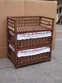 藤編收納櫃抽屜式手工田園歐式實木兒童房寶寶床頭櫃 薔薇時尚