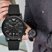 EMPORIO ARMANI 亞曼尼 AR11133 黑色優雅飛行員腕錶 熱賣中!