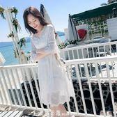 2019夏季新款海邊度假沙灘裙子仙女超仙甜美白色蕾絲雪紡洋裝女 「米蘭街頭」