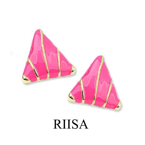 個性搶眼時尚三角桃紅耳環