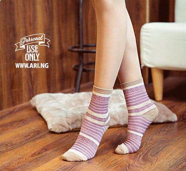襪子   民族風條紋中筒襪  【FSW035】-收納女王