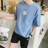 夏季男士圓領休閒短袖T恤學生寬鬆半袖體恤正韓印花五分袖潮男裝【快速出貨限時八折】