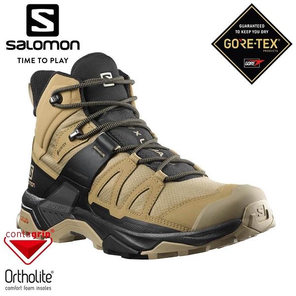 【SALOMON 法國 男 X ULTRA 4 GTX 中筒登山鞋《藻棕/黑/灰褐藍》】412941/休閒鞋/登山