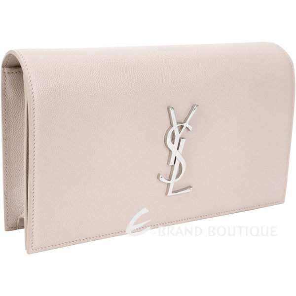 YSL Saint Laurent Monogram 素面荔枝皮紋牛皮手拿包(粉裸色) 1620753-E2