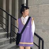 秋季新款學院風寬鬆V領背心上衣中長款無袖外穿針織馬甲女 韓國時尚週