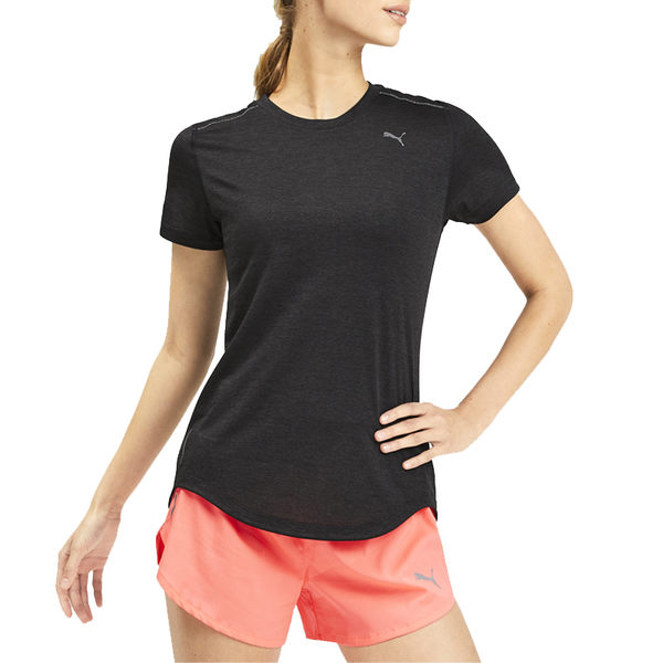 Puma Ignite Heather 女 黑灰 短袖 上衣 吸濕 排汗 透氣 反光logo 合身剪裁 棉質 短T 51825602