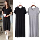 短袖洋裝黑色洋裝夏莫代爾連身裙大尺碼薄A長裙短袖V領黑色背心裙打底裙M-2XL9色