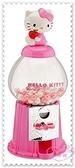 ♥小花花日本精品♥ Hello Kitty 立體公仔 坐姿 抱蘋果 扭蛋機 口香糖機 粉色 蝴蝶結 50114405
