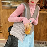 素色褶皺包包環保購物袋單肩包手提包帆布包【時尚大衣櫥】