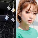 925純銀針  韓國優雅氣質 鋯鑽六片花...