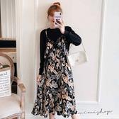 孕婦裝 MIMI別走【P521266】椰林渡假風 長袖拼接假兩件連身裙 孕婦洋裝