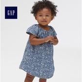 Gap女嬰兒 短袖花卉印花牛仔洋裝 419843-中度水洗