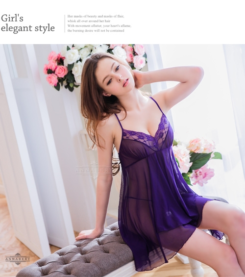 睡衣 性感睡衣【中大尺碼】深紫柔紗短版不規則二件式性感睡衣 星光密碼V056