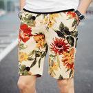 多款印染花色沙灘褲 黃紅 M-4XL碼【CM65025-3】