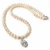 天然珍珠圓珠與純銀十字架橢圓吊墬項鍊