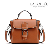 側背包 復古潮流皮帶扣飾側背包 3色 -La Poupee樂芙比質感包飾 (預購)