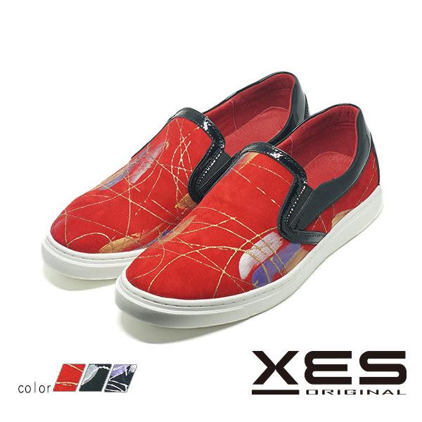 男鞋 XES 抽象線性藝術 平底懶人鞋 樂福鞋 時尚休閒鞋_濱紛紅