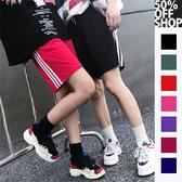 50%OFF SHOP 嘻哈復古測三槓情侶短褲 【000258CBAH】