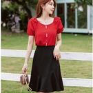 黑紅配色氣質優雅兩件套(紅上衣+黑及膝裙)宴會上班洋裝[99191-QF]美之札