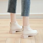 裸靴 短靴女平跟后拉練女靴子英倫短筒秋冬小皮鞋潮馬丁靴 - 古梵希