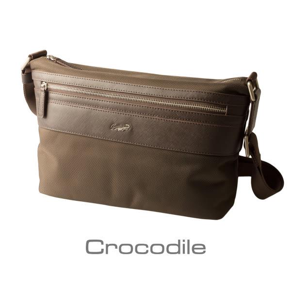 Crocodile Wind 系列皮配布橫式斜背包(M)0104-6004