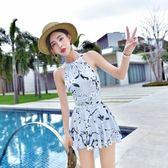 【新年鉅惠】泳衣女保守遮肚顯瘦裙式連體學生性感