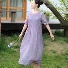 苧麻壓縐連身裙 輕薄雙層中袖洋裝 純色圓領長裙-夢想家-0707